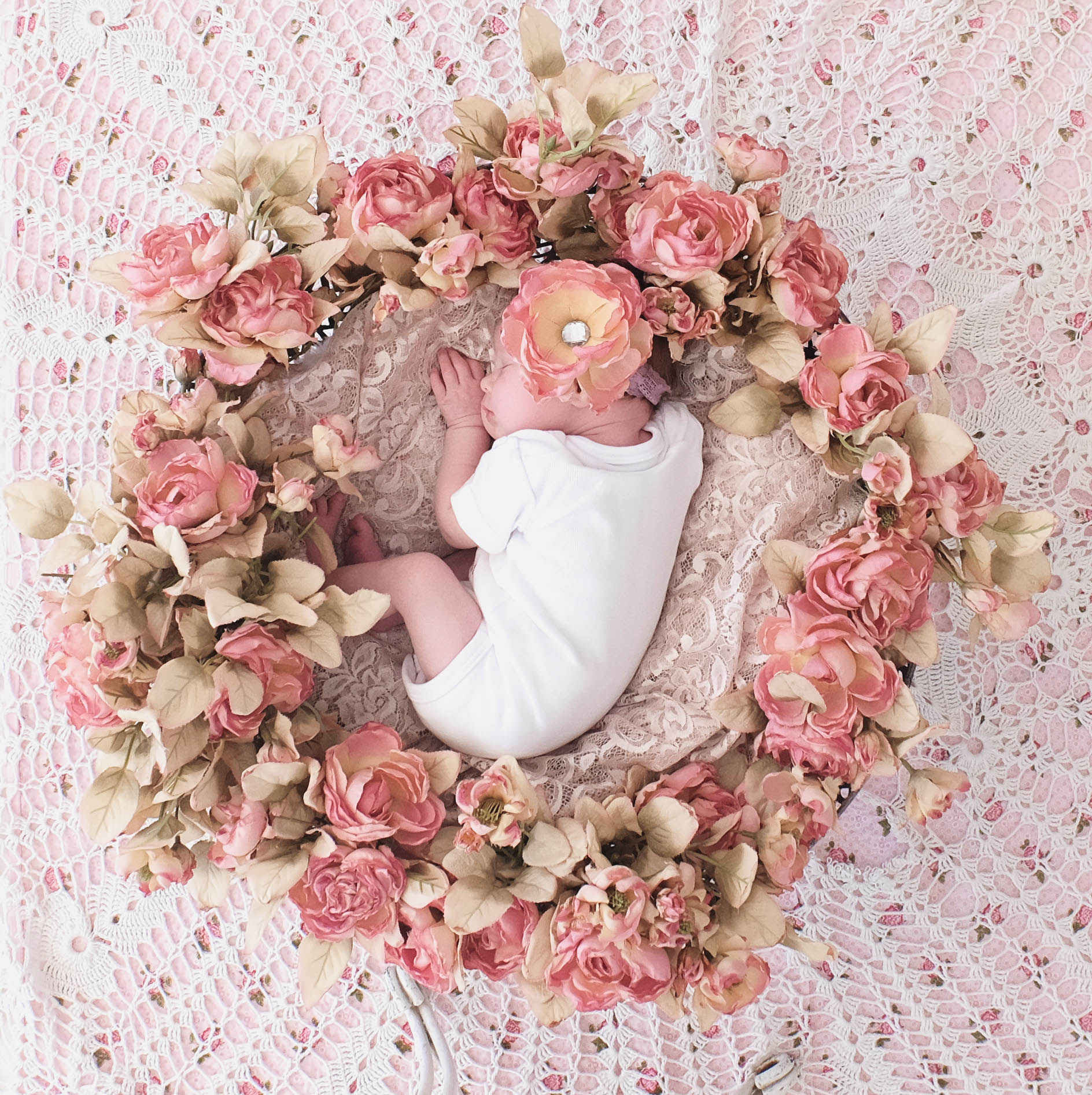 baby sleeping in a circle of flowers