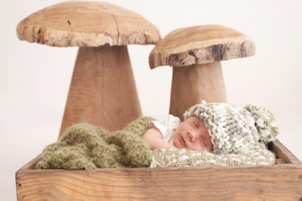 baby sleeping between mushrooms